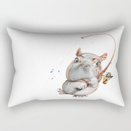 A hippopotamus fishing Rectangular Pillow