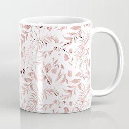 Elegant modern faux rose gold tropical leaves floral Coffee Mug