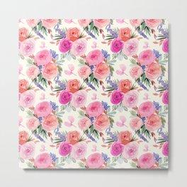 Retro Floral Ranunculus print Metal Print