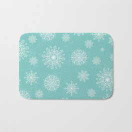 Assorted Snowflakes On Turquoise Backround Bath Mat
