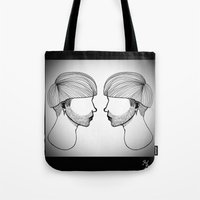 queer Tote Bags featuring Queer boys  by Raúl Rodríguez