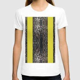 Gothic tree striped pattern mustard yellow T-shirt