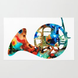 French Horn - Colorful Music By Sharon Cummings Rug