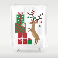 reindeer Shower Curtains featuring Reindeer by Reg Silva / Wedgienet.net