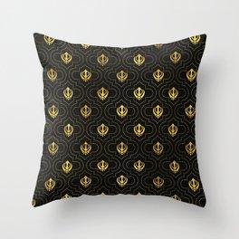 Gold Khanda symbol pattern Throw Pillow