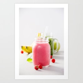 Close-up of pink fresh smoothie with fruits and berries selective focus. Art Print