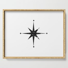 black 8 point star Serving Tray