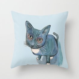 Blu Cat Throw Pillow