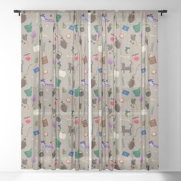 Assorted Witchery Repeating Pattern Tan Sheer Curtain