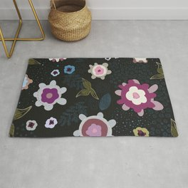 Abstract artistic flowers with black background. Floral surreal pattern Rug