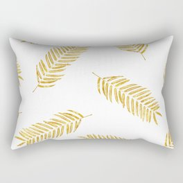 Gold Leaves Pattern Rectangular Pillow
