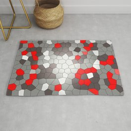 Mosaik grey white red Graphic Rug