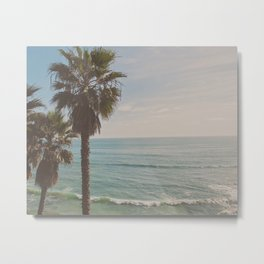 palm tree and ocean. California Vacation Metal Print