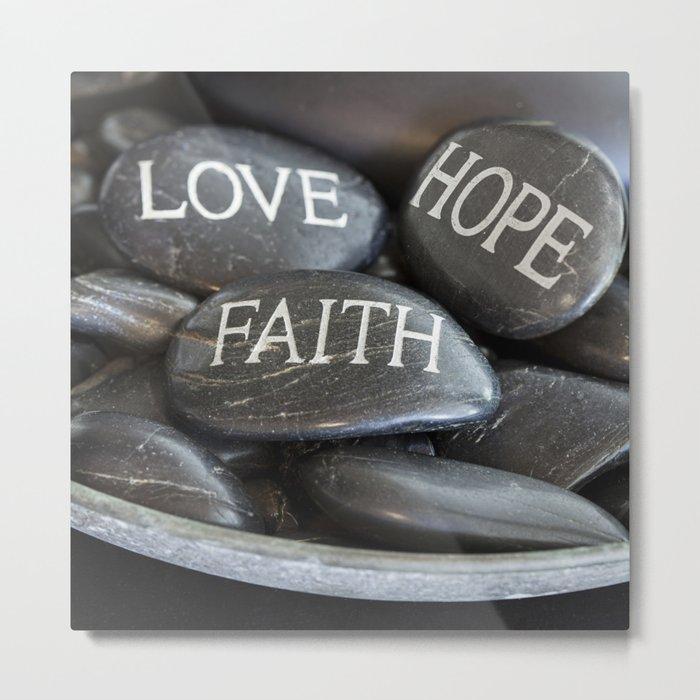 Love Faith Hope Christian Quote Black Pebble Embossing Metal Print