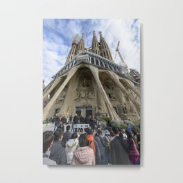 Tourists at the Passion Facade Sagrada Familia Metal Print