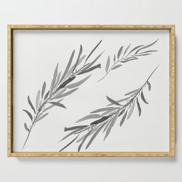 Eucalyptus leaves black and white Serving Tray