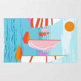 Quepasa - memphis throwback retro minimal modern neon boating yacht club sailing summer sport Rug