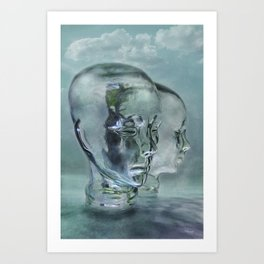 Glasmensch im Internet Art Print