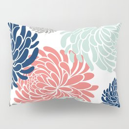 Floral, Chrysanthemums, Coral, Pink, Aqua, Navy, Blue Pillow Sham