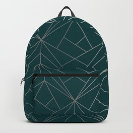 Hidden Sapphire Geometric Silver Pattern With White Shimmer Backpack