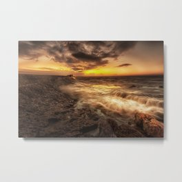 Porthcawl Sunrise with an oil painting effect on the sea Metal Print