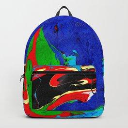 Marble Ink in Blue Green Red Black Purple Backpack