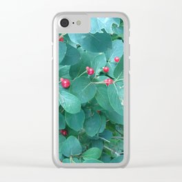 Blue bush berry Clear iPhone Case
