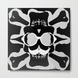 old funny skull with glasses art portrait in black and white Metal Print