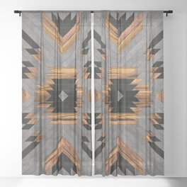 Urban Tribal Pattern No.6 - Aztec - Concrete and Wood Sheer Curtain