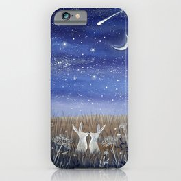 Hares and the Crescent Moon iPhone Case
