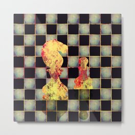 Grunge  Chessboard and Chess Pieces Metal Print