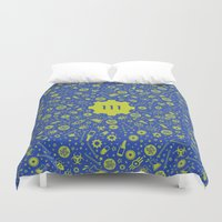 fallout Duvet Covers featuring Fallout 4 Vault 111  by LONEWLF