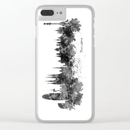 Barcelona Black and White Watercolor Skyline Clear iPhone Case