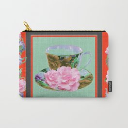 SAFFRON COLOR PINK ROSE AFTERNOON TEA Carry-All Pouch
