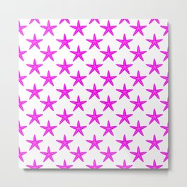 Starfishes (Magenta & White Pattern) Metal Print