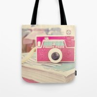 vintage camera Tote Bags featuring Camera by Angie Ravelo Art & Photography
