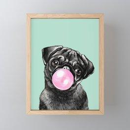 Bubble Gum Black Pug in Green Framed Mini Art Print