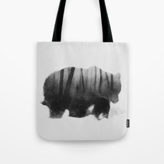 Watched by Grizzly Bear (black & white version) Tote Bag