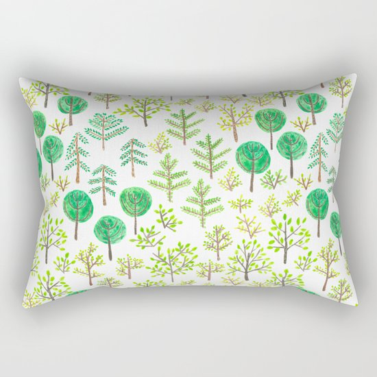 Watercolor forest in doodle style Rectangular Pillow
