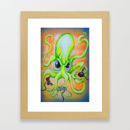 Video Game Playing Octopus Framed Art Print