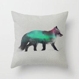 Fox In The Aurora Borealis Throw Pillow