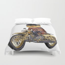 Cat riding motorcycle Duvet Cover