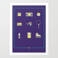 90s Art Prints featuring 90s Stuff by POP Collective