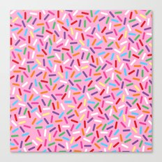 Pink Donut with Sprinkles Canvas Print