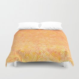 Yellow and orange swirls doodles Duvet Cover