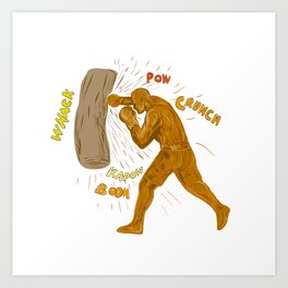 Boxer Hitting Punching Bag Drawing Art Print