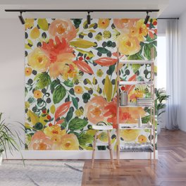 Peach and Yellow Flowers Wall Mural