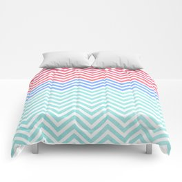 Chevron Blue and Red vintage Comforters