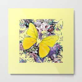 CONTEMPORARY YELLOW  BUTTERFLY FLOWER FLORAL DRAWING Metal Print