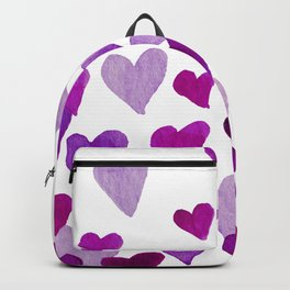 Valentine's Day Watercolor Hearts - purple Backpack